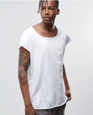 White Tee with Big Neck Opening