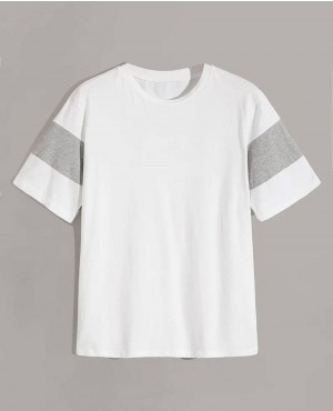 White with Heathered Grey Panel Custom Printed T Shirt
