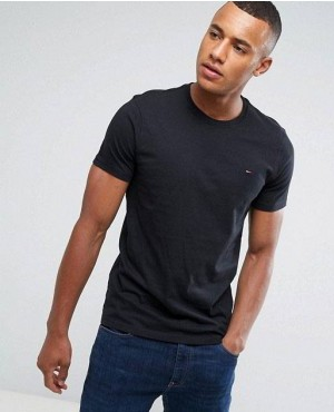 Wholesale Black Color T Shirt with Crew Neck
