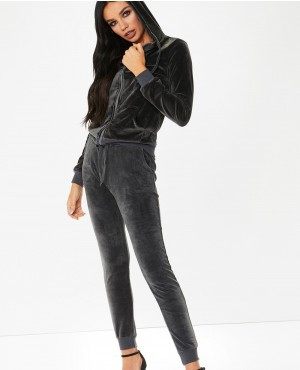 Wholesale Customized Printing Logo Slim Fit Grey Velour Lounge Tracksuit