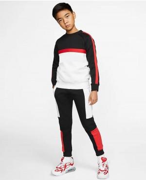 Wholesale Men Streetwear Contrast Color Long Sleeve Pullover Sweatshirts