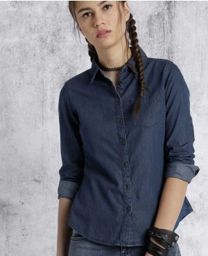 Wholesale Women Navy Blue Casual Shirt