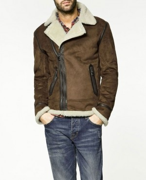 Winter Men Faux Suede Shearling Collar Vintage Brown Leather Bomber Jacket