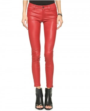 Women Ankle Zipper Leather Pant