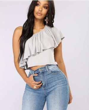 Women Best Quality One Shoulder With Frill Crop Top  Grey