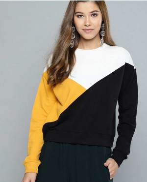 Women Black & Mustard Yellow Colourblocked Sweatshirt