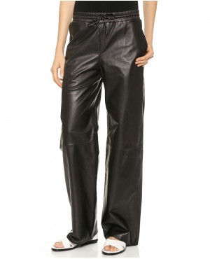 Women Black Baggy Style Leather Pant