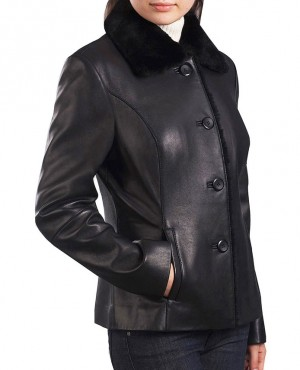 Women Black Button Leather Jacket