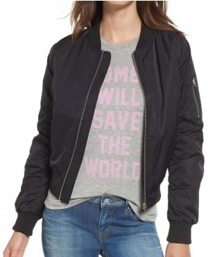 Women Black Satin Bomber Varsity Jacket