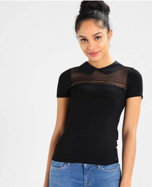 Women Black T Shirt with Mesh Block