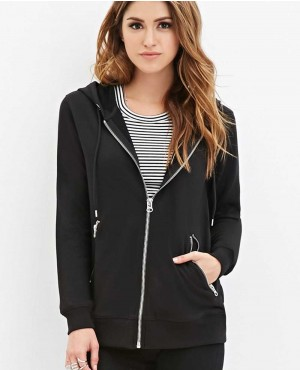 Women Black Zipped Hoodie