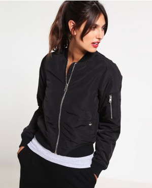 Women Black Zipper Bomber Jacket