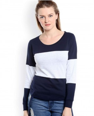 Women Blocks Round Neck T Shirt