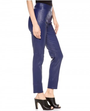 Women Blue Leather Pant with Front Pockets