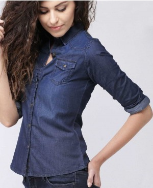 Women Blue Regular Fit Washed Denim Casual