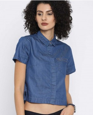Women Blue Solid Denim Crop Shirt