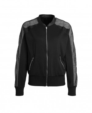 Women Bomber Jacket with Mesh Panels