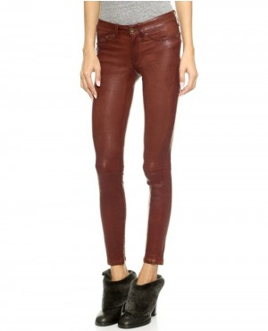 Women Brown Leather Pant