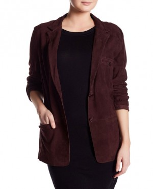 Women Button Leather Blazer