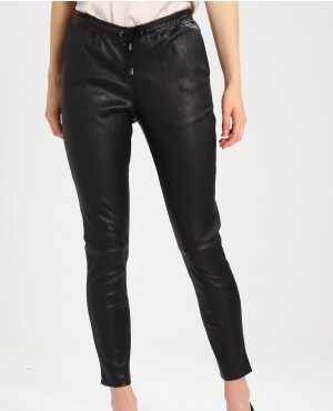 Women Casual Wears Fashionable Leather Pant Trousers Black
