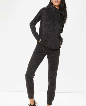Women Charcoal Grey Fleece Loungewear Tracksuit