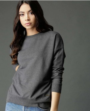 Women Charcoal Solid Back Laces Sweatshirt