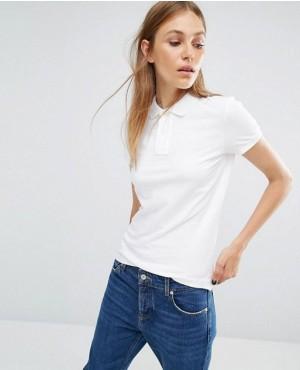 Women Classic White Polo Shirt