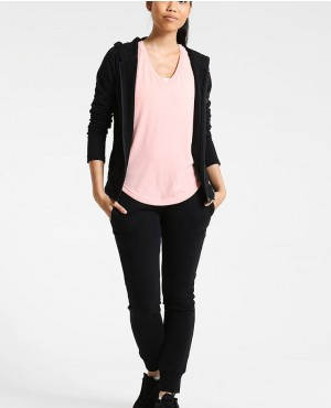 Women Classic Zipper Custom Hooded Black Tracksuit