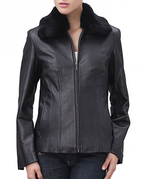 Women Classical Collar Shearling Leather Jacket