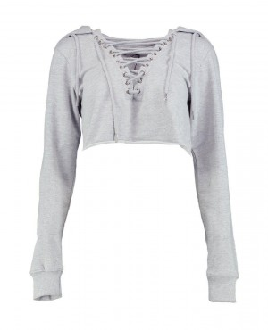 Women Cropped Lace Up Lounge Top