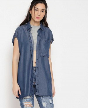 Women Custom Blue Solid Longline Denim Shirt