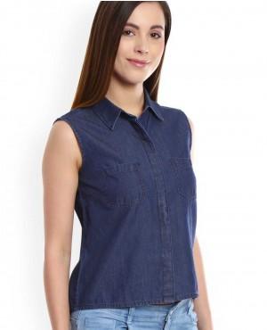 Women Custom Button Sleeveless Denim Shirt