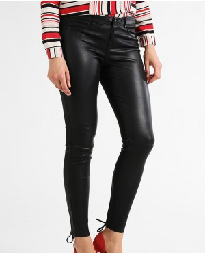 Women Custom Leather Pant with Laces Closeup