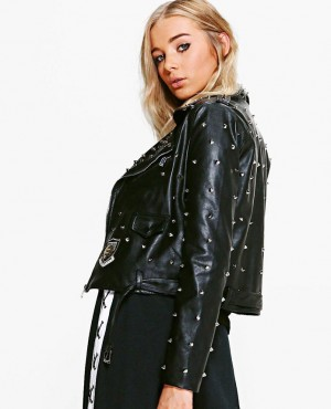 Women Custom Made Studded Leather Biker Jacket