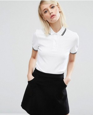 Women Custom Made Twin Tipped Polo Shirt In white Color
