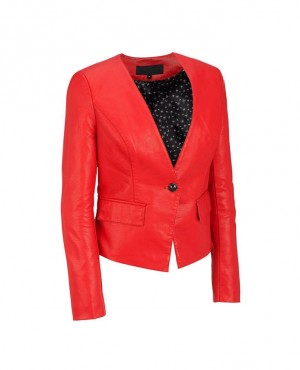 Women Fashionable Leather Blazer