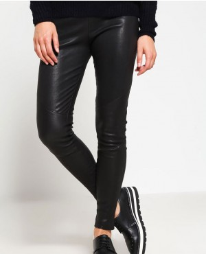 Women Fashionable Leather Trousers Black