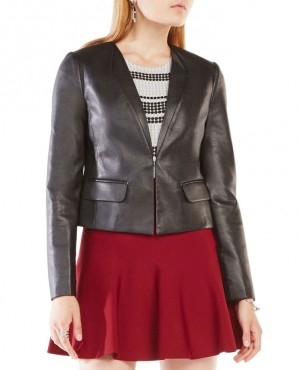 Women Faux Leather Blazer