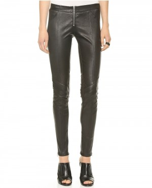 Women Front Zipper Black Leather Pant