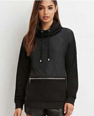 Women Front Zipper Pocket Pullover Hoodie