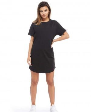 Women Full Back Zipper Longline Black  T Shirt