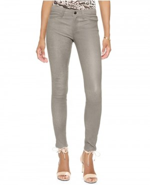 Women Grey Leather Pant