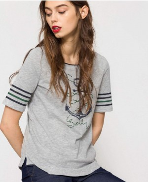 Women Grey Melange Printed Round Neck T Shirt