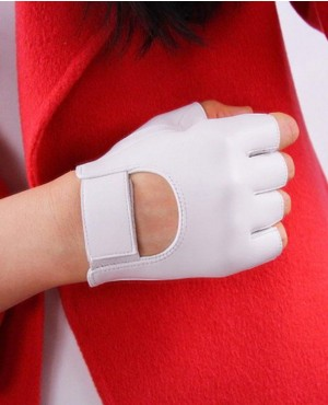 Women Half Finger Real Leather Gloves Pure Sheepskin