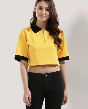 Women Half Zipper Polo Crop Top