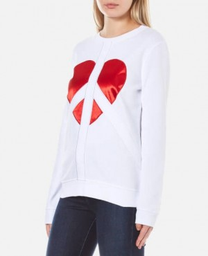 Women Heart Printed Long Sleeve Sweatshirt