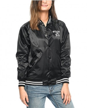 Women High Quality Satin Bomber Varsity Jacket