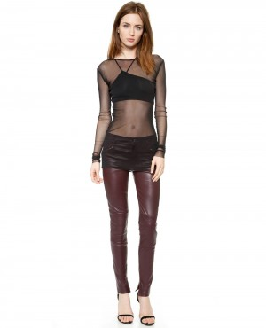 Women Hot Look Leather Pant