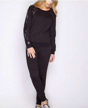 Women Hot Selling Black PU Lace Detail Loungewear Sweatsuit