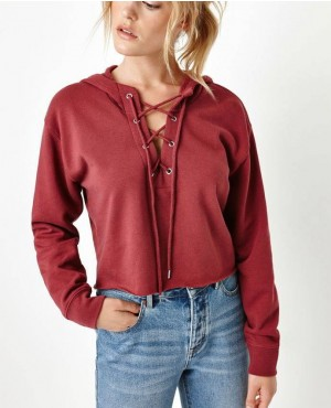 Women Lace Up Cropped Hoodies